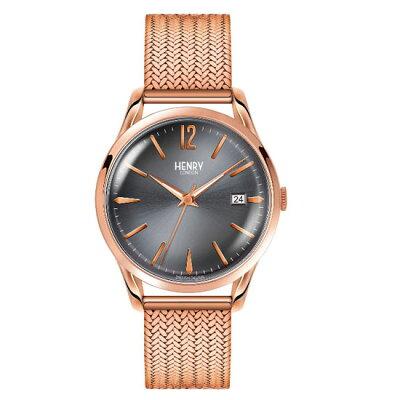 【ヘンリーロンドン】HENRYLONDON腕時計39mm男女兼用ユニセックスメンズ/レディースメッシュベルトグレーxローズゴールドヘンリーロンドンHENRYLONDONフィンチリーFinchleyHL39-M-0118