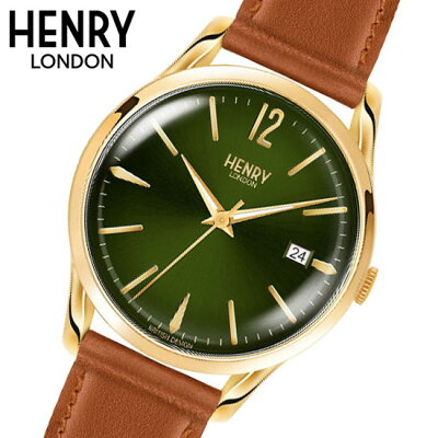 【ヘンリーロンドン】HENRYLONDON腕時計39mm男女兼用ユニセックスメンズ/レディース牛革ベルトグリーンxイエローゴールドヘンリーロンドンHENRYLONDONチズウィックChiswickHL25-S-0186