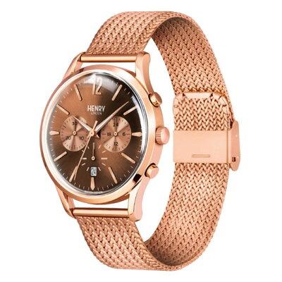 【ヘンリーロンドン】HENRYLONDON腕時計41mmクロノグラフメンズメッシュベルトブラウンxローズゴールドヘンリーロンドンHENRYLONDONハーローHARROWHL41-CM-0056