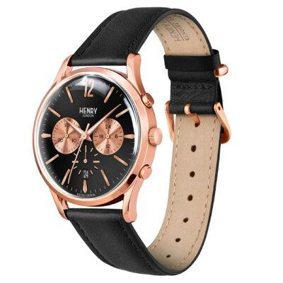 【ヘンリーロンドン】HENRYLONDON腕時計41mmクロノグラフメンズ牛革ベルトブラックxローズゴールドヘンリーロンドンHENRYLONDONチャンセリーChanceryHL41-CS-0042