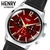 【ヘンリーロンドン】HENRYLONDON腕時計41mmクロノグラフメンズ牛革ベルトレッドヘンリーロンドンHENRYLONDONチャンセリーChanceryHL41-CS-0099