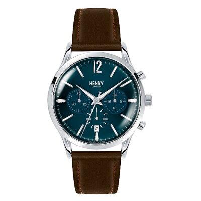 【ヘンリーロンドン】HENRYLONDON腕時計41mmクロノグラフメンズ牛革ベルトグリーンxイエローゴールドヘンリーロンドンHENRYLONDONナイツブリッジKnightsbridgeHL41-CS-0107