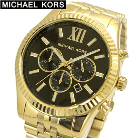 マイケルコース MICHAEL KORS 腕時計 メンズ クロノグラフ イエローゴールド x ブラック文字盤 LEXINGTON レキシントン MK8286 マイケルコース 時計