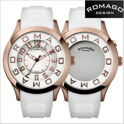 【ROMAGODESIGN】ロマゴデザイン腕時計ATTRACTIONミラーウォッチシリコンラバーベルト/ホワイトxローズゴールド字盤RM015-0162PL-RGWH【送料無料】