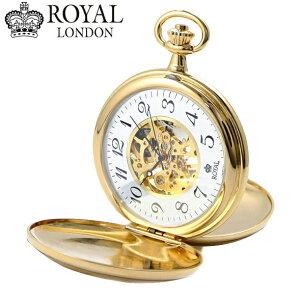 【ロイヤルロンドン】【ROYAL LONDON 】懐中時計 ポケットウォッチ/機械式(手巻き)蓋付き・両面スケルトン・メンズ・ゴールド(チェーン付) ロイヤルロンドン 90004-01【送料無料】