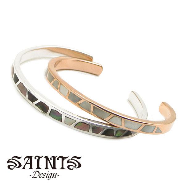 【SAINTS Design セインツ デザイン】シェル ペアバングル メンズ & レディース シルバー925製 SSB-720M SSB-720F