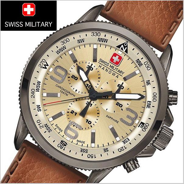 SWISS MILITARY スイスミリタリー 腕時計 クロノグラフ・ARROW(アロー) ベージュ文字盤 メンズ ML-398