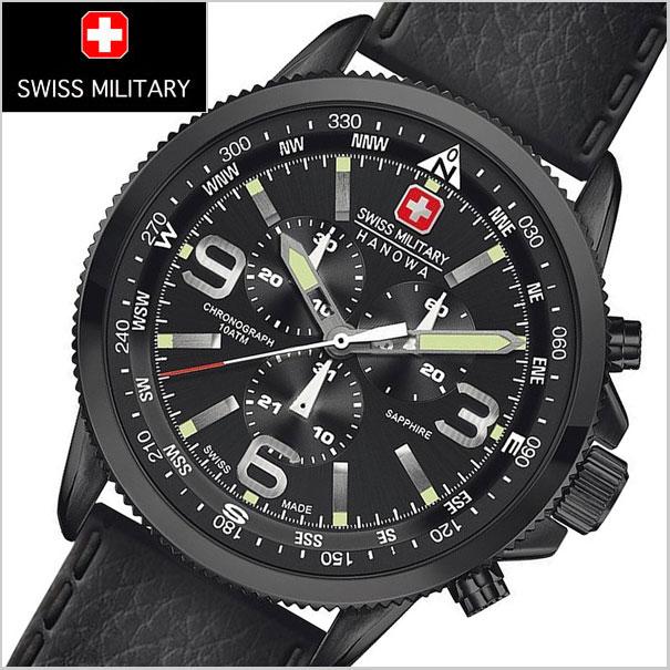 SWISS MILITARY スイスミリタリー 腕時計 クロノグラフ・ARROW(アロー)ブラック文字盤 メンズ ML-400