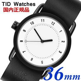 【クリーナープレゼント】TID Watches ティッドウォッチズ No.1 ホワイト文字盤 ブラックレザー 36mm 男女兼用 ユニセックス メンズ レディース 10200101