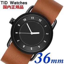 【クリーナープレゼント】TID Watches ティッドウォッチズ No.1 ブラック文字盤 タンレザー 36mm 男女兼用 ユニセックス メンズ レディース 10210104