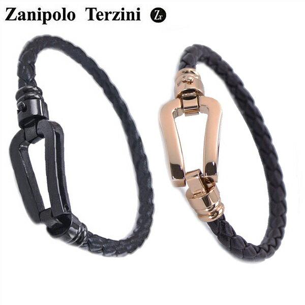 Zanipolo Terzini(ザニポロ・タルツィーニ)サージカルステンレス製 ペア(男女2本セット)レザーブレスレット メンズ & レディース ザニポロタルツィーニ ZTB2610-BKBK-RGBR