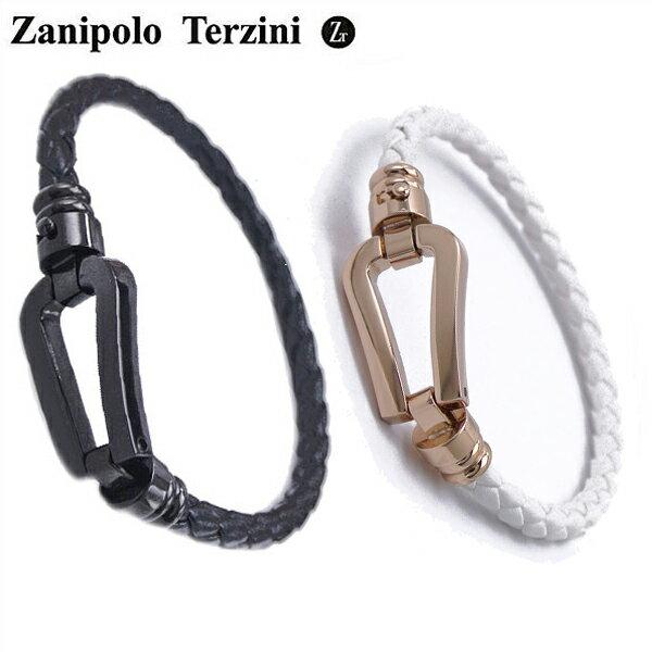 Zanipolo Terzini(ザニポロ・タルツィーニ)サージカルステンレス製 ペア(男女2本セット)レザーブレスレット メンズ & レディース ザニポロタルツィーニ ZTB2610-BKBK-RGWH