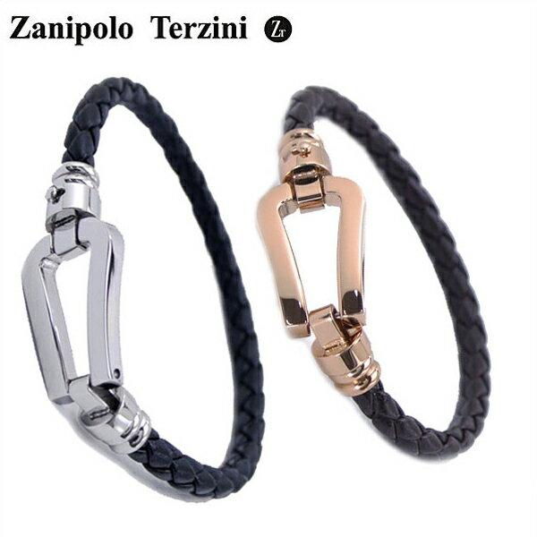 Zanipolo Terzini(ザニポロ・タルツィーニ)サージカルステンレス製 ペア(男女2本セット)レザーブレスレット メンズ & レディース ザニポロタルツィーニ ZTB2610-SSBK-RGBR