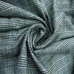 【ウールストレッチグレンチェック生地グレー】140cmウール89%ナイロン10%ポリウレタン1%カラー:グレー織物先染ストレッチ日本製