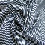 【コットン100%先染ストライプホワイトxDネイビー】148cm幅コットン100%先染ストライプシャツ用生地手芸縫製綿縞柄生地双糸
