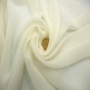 【シルク100% シフォン ジョーゼット 生地 オフホワイト 】シルク 100% 生地幅 140cm 手芸 洋裁用 絹 織物