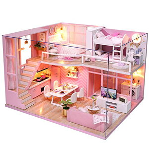 CuteBee DIY木製ドールハウス、メゾネットタイプ、手作りキットセット、ミニ家具工芸品キット、ミニチュアコレクション、付属LEDライ