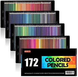 Shuttle Art 色鉛筆 カラーペン 172色セット 大人の塗り絵 スケッチ イラスト 落書き 手帳 ノード子供用 プレゼント 入園・入学お祝
