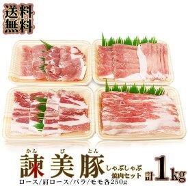 送料無料 長崎ブランド豚 諫美豚 かんびとん 食べ比べ セット 1kg (冷凍) 便利な小分けセット かんびとん (焼肉用しゃぶしゃぶ用)