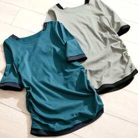 【クーポン配布中】【WEB限定】Tシャツ M L LL 3L 4L 5L 綿100%レイヤード風Tシャツ(M〜5L) 20代 30代 40代 レディース ベルーナ 大人 ファッション 春 夏 夏服 シャツ トップス 半袖 Viola e Viola 大きいサイズ