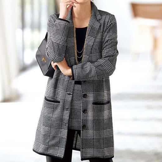 ●アウトレット● ジャカード素材ロングジャケットアンサンブル ベルーナ 40代 50代 60代 レディース ミセス ファッション 秋 グレンチェック 在庫処分 在庫限り SALE 【タイムセール0921】 半額以下