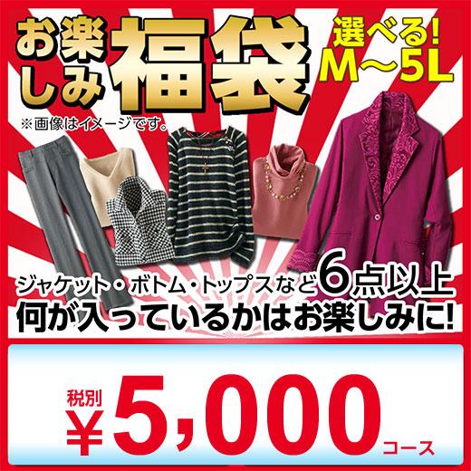 福袋 2019 M L LL 3L 4L 5L ミセス お楽しみ袋 税別5,000円 (M〜5L) ベルーナ 50代 60代 婦人服 ファッション レディース 大人