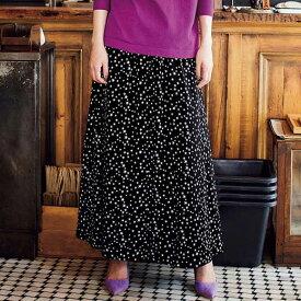 フレアースカート(ロング) 3L 4L 5L プリントロングフレアースカート(3L〜5L) ベルーナ 40代 50代 60代 レディース ミセス ファッション ラナン Ranan 春 春服 大人 フレアー スカート ロング丈 大きいサイズ