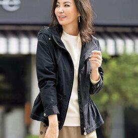 【ポイント10倍】ジャケット 3L 4L 5L ウエストシャーリング使いフードジャケット(3L〜5L) ベルーナ Belluna 40代 50代 60代 レディース ミセス 大人 ファッション 春 春服 アウター