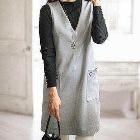 チュニック 秋 冬 M LL Lサイズ スエード調ポケット使いジャンパードレス(M〜LL) ベルーナ Belluna 40代 50代 60代 レディース ミセス ファッション 【在庫残りわずか】