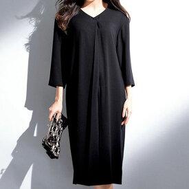 ●アウトレット●ブラックフォーマル M L LL 3L 洗える!楽に着られるゆるっとワンピース(M〜3L) ベルーナ 30代 40代 50代 ファッション レディース ラナン Ranan 喪服 スーツ 黒 在庫処分 在庫限り