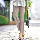フルレングスパンツ S M L LL なめらか綿混スラブ素材美ストレートパンツ(S〜LL) ベルーナ Belluna 40代 50代 60代 レディース ミセス 大人 ファッション 夏 ロングパンツ