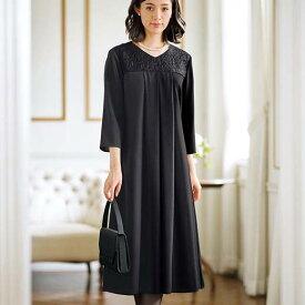 【在庫残りわずか】ブラックフォーマル 19ABR 21ABR 23ABR 洗えるストレッチ!レース切替ゆったりドレープワンピース(19ABR〜23ABR) ベルーナ Belluna 40代 50代 60代 レディース ミセス 大人 ファッション 夏 夏服 喪服 スーツ 大きいサイズ