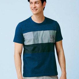 ポロシャツ S M L LL 3L <ニコル モリソン>布帛切替ブルーデザインポロシャツ・Tシャツ(S〜3L) ベルーナ 40代 50代 60代 メンズ 紳士 大人 ファッション 夏 夏服 シャツ