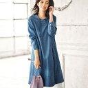 【最大1000円OFFクーポン配布中】チュニック M L LL デニム素材衿デザインチュニックワンピース (M〜LL) 40代 50代 60…