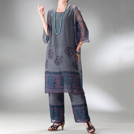 ●アウトレット●ドラゴンプリントスーツ ベルーナ ルフラン 40代 50代 60代 レディース ミセス ファッション【セット】 アウトレット 在庫処分 夏服 在庫限り