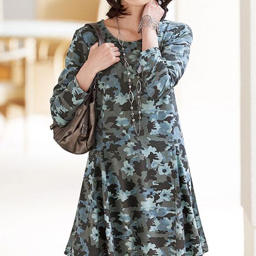 フレアーシルエットプリントチュニック ベルーナ 40代 50代 60代 レディース ミセス ファッション アウトレット 秋 冬 グレンチェック タイムセール 再販売