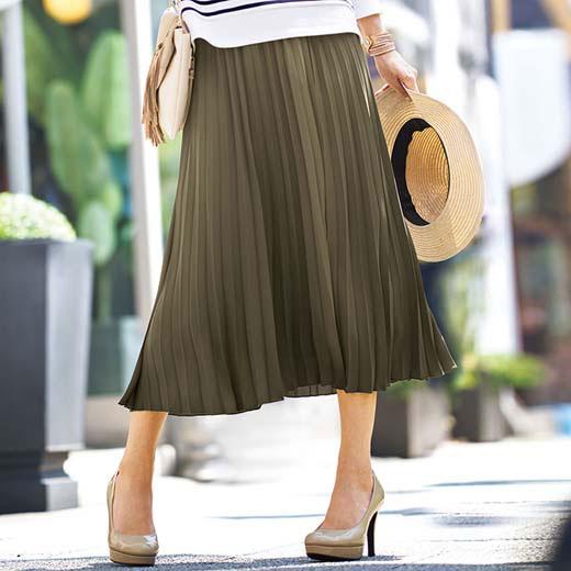 ●SALE!!セール●プリーツ素材ロングスカート ベルーナ Belluna 40代 50代 60代 レディース ミセス ファッション タイムセール 再販売 アウトレット 在庫処分