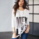 Tシャツ/M/LL/L/3Lロング丈プリントゆるTシャツ ベルーナ ラナン Ranan 30代 40代 ファッション レディース