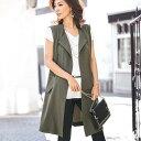 レディース 大きいサイズ ダブルクロス素材ロングジレ(M〜LL) ベルーナ 40代 50代 60代 レディース ミセス ファッション