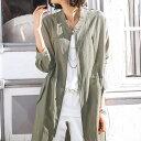 大きいサイズ 綿麻素材ロング丈ブルゾンジャケット(3L〜5L) ベルーナ 40代 50代 60代 レディース ミセス ファッション 綿