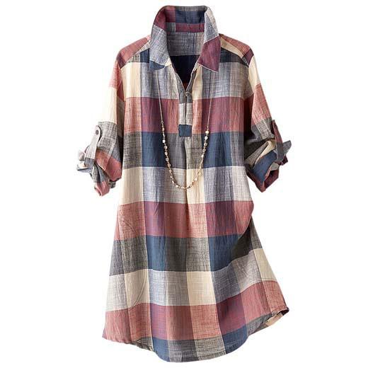 チュニック チュニックワンピース シャツ 長袖 夏 大きいサイズ インド綿スラブチェックオーバーブラウス(3L〜5L) ベルーナ べるーな 40代 50代 60代 レディース 女性 ミセス ファッション 綿 体型カバー