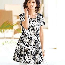 フレアーシルエットプリントチュニック(M〜LL) ベルーナ Belluna ベルーナ Belluna 40代 50代 60代 レディース 女性 ミセス ファッション 夏 体型カバー