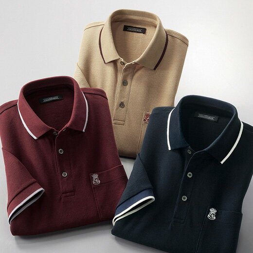 ポロシャツ メンズ 夏 S M LL L 3Lサイズ 胸刺しゅうライン入りポロシャツ ベルーナ 40代