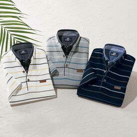 ポロシャツ メンズ 夏 S M LL L 3Lサイズ <ミチコ ロンドン ジーンズ>新デザインボーダーポロシャツ ベルーナ 40代 50代 60代 ファッション メンズ 紳士 おじいちゃん プレゼント 小さいサイズ