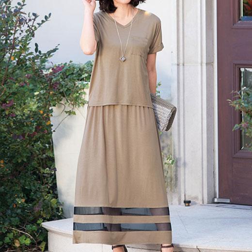 スーツ ポケT&裾切替ワンピースセット<アイビル>(3L〜5L) ベルーナ ルフラン べるーな 40代 50代 60代 レディース ミセス ファッション 夏 大きいサイズ