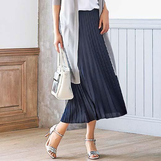 プリーツ素材ロングスカート(3L/4L/5L 股下75cm/股下80cm) ベルーナ Belluna べるーな 40代 50代 60代 レディース ミセス ファッション 夏 大きいサイズ