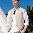 トロピカルプリント綿麻ベスト ベルーナ べるーな 40代 50代 60代 メンズ 紳士 男性 ファッション 綿