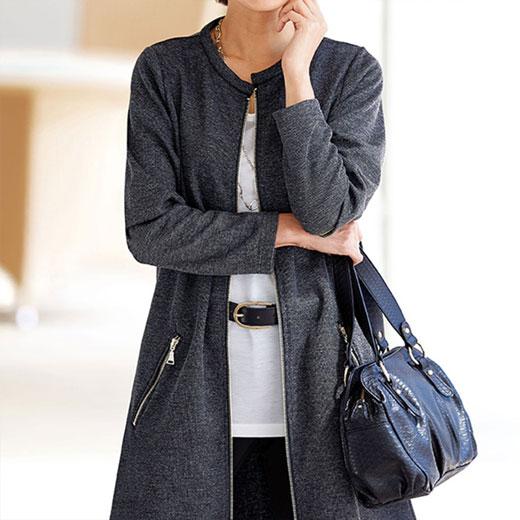 ジッパー使いロング丈ジャケット(3L〜5L) ベルーナ 40代 50代 60代 レディース ミセス ファッション 大きいサイズ 秋 冬 あったか 裏起毛