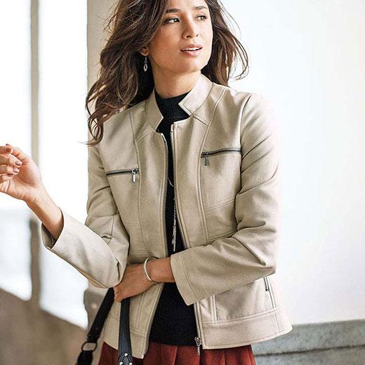 フェイクレザー切替デザインジャケット(3L〜5L) ベルーナ Belluna 40代 50代 60代 レディース ミセス ファッション 大きいサイズ 秋 冬