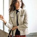 フェイクレザー切替デザインジャケット(3L〜5L) ベルーナ 40代 50代 60代 レディース ミセス ファッション